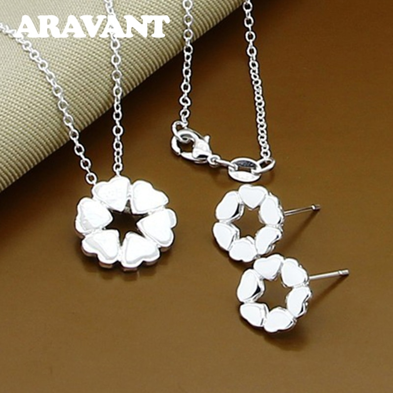 Wedding Jewelry Set 925 Silver Charm Full Heart Necklace Stud Earrings For Women Jewelry Set exclusive green beaded statement necklace set for bride new wedding necklace earrings set christmas jewelry wd916
