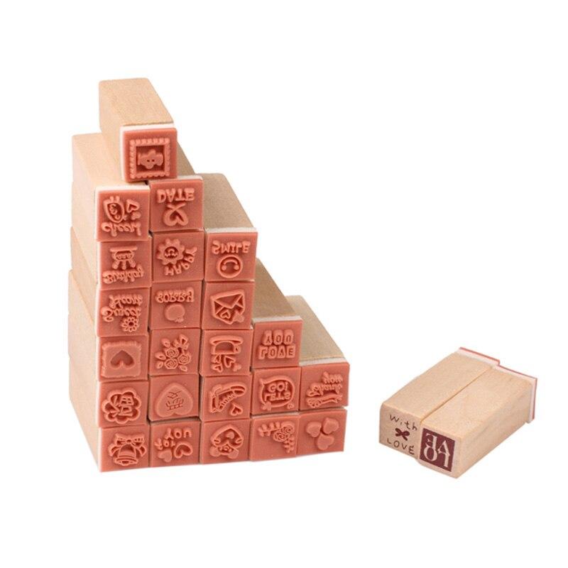 Timbres en bois pour Scrapbooking   25 pièces/ensemble timbres pour agenda de famille, cartes de bricolage pour enfants, tampon à gaufrer, pochoir artisanal