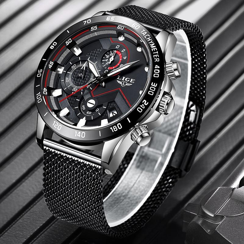 LIGE Mens Watches Top Brand Luxury Military Sport Wristwatch Mens Waterproof  Watch Chronograph Quartz Clock Relogio Masculino enlarge