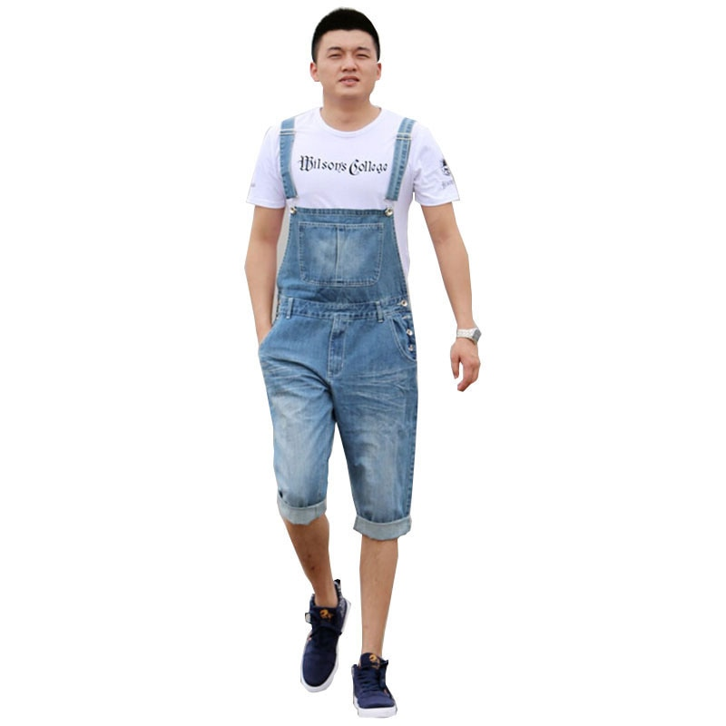 Verano 2018 pantalones de Mono vaquero holgados informales para hombre pantalones cargo azul claro pantalones de talla grande jardinero capris talla XS-5XL