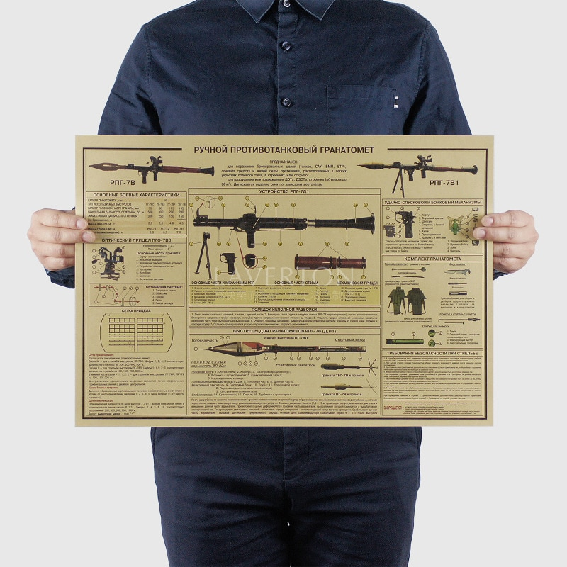 РПГ 7в1/Известный Дизайн оружия/ракетные пусковые установки/крафт-бумага/бар постер/ретро постер/декоративная роспись 51x35,5 см Бесплатная доставка