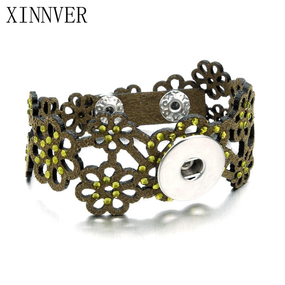 5 colores 21CM nuevo Vintage Snap pulsera hombres/mujeres ajustable cuero con agujeros pulseras y brazaletes moda Pulseira Xinnver joyería