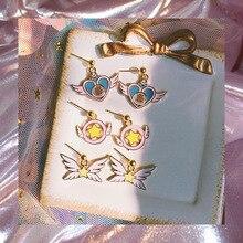Cute Star Stick Card Wand Sakura Cartoon Heart Earring CARDCAPTOR SAKURA Anime Angel Wing Earrings Jewelry Gift for women girls