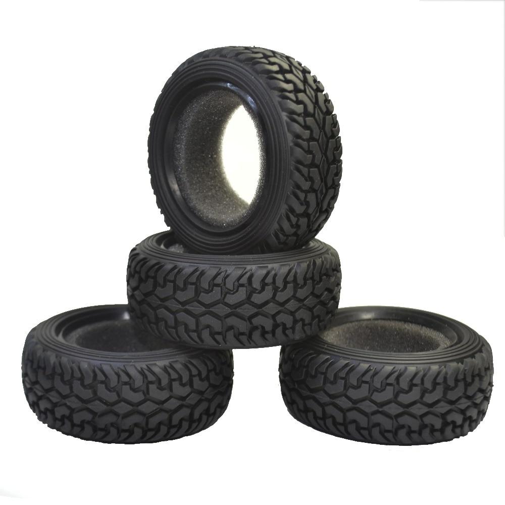 4 Uds 1/10 RC coche de Rally grano negro neumáticos de goma para Traxxas Tamiya HPI Kyosho HSP RC en coche de carretera