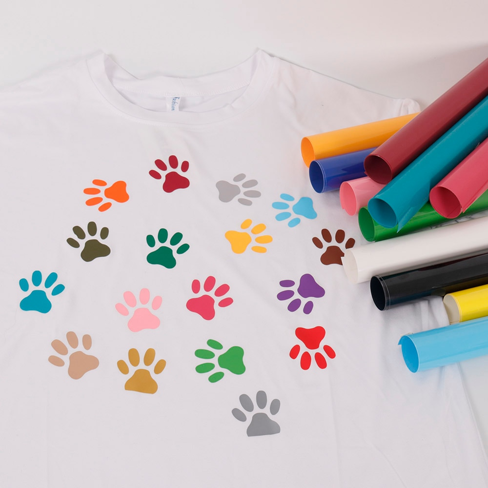 SUNICE DIY regalo Festival Deco Premium Transferencia de Calor PVC vinilo camisetas hierro en bolsa de ropa abric suministros para T-shirt25cmX25cm