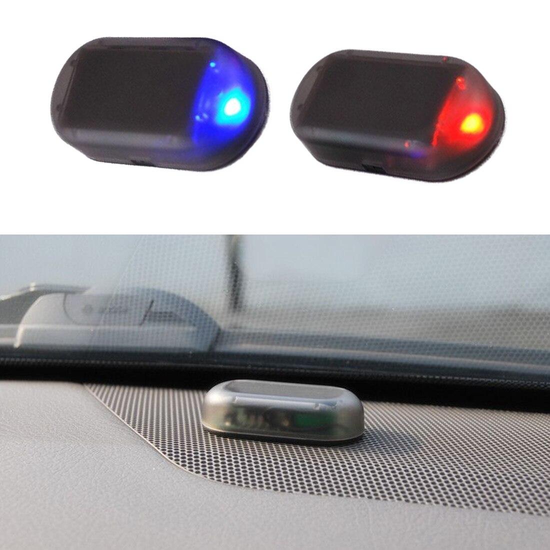 Fontes de proteção do carro simulação led alarme luz segurança falso sistema solar aviso roubo flash piscando carro