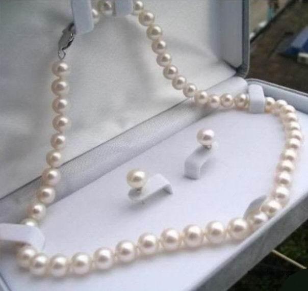 2019 Bonita 8-9mm Branco Colar de Pérolas Tahiti 17 + Brincos Miçangas Moda Fazendo Design de Jóias Mulheres conjunto de jóias de Pedra Natural