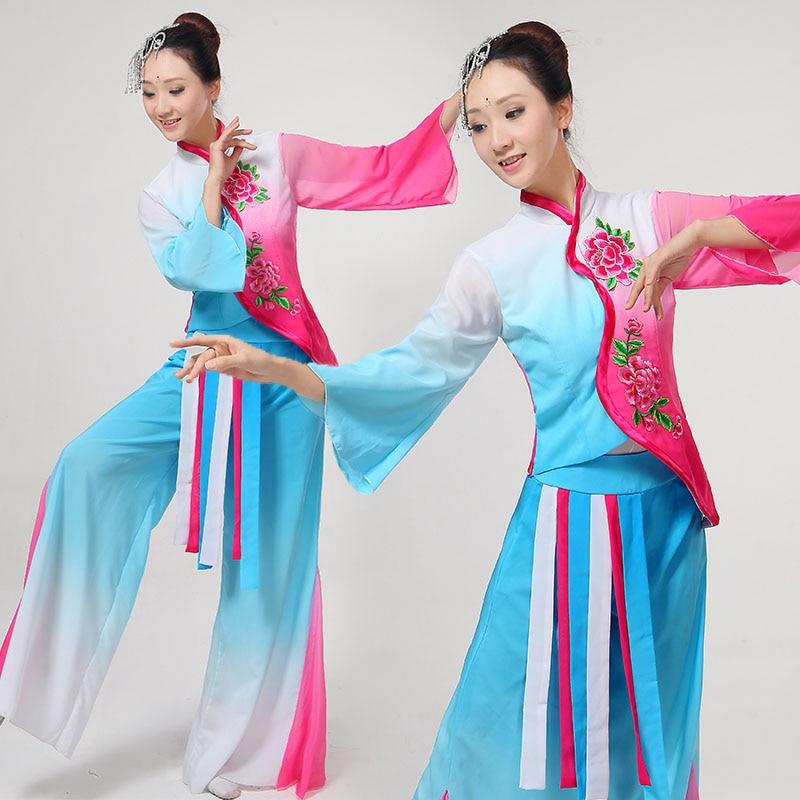 أزياء الرقص الصينية القديمة الكلاسيكية, أزياء رقص صينية كلاسيكية ضاربة اللون الوطني زهرة التطريز ملابس أداء المرحلة