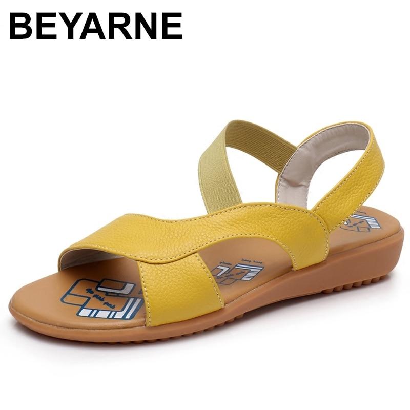 BEYARNE Cow Genuine Leather Sandals Women Flat Heel Sandals Fashion Summer Shoes Woman Sandals Summer Plus Size 34-43