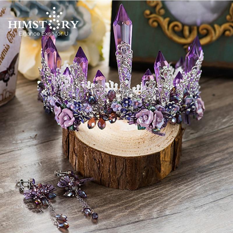 Роскошные Сверкающие Фиолетовые серьги HIMSTORY Dreamty, свадебный цветок с кристаллами