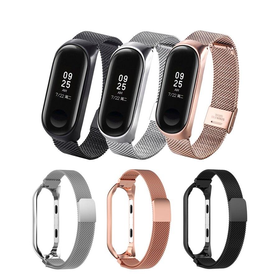 Para mi Band 3 pulsera de acero inoxidable mi lanese correa de reloj magnética para Xiaomi mi Band 3 4 pulsera para mi Band 4 oro rosa