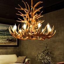Bois de pays américain pendentif lumières salon Restaurant Bar méditerranéen bois lampe industrielle LOFT résine cerf corne lampe à suspendre