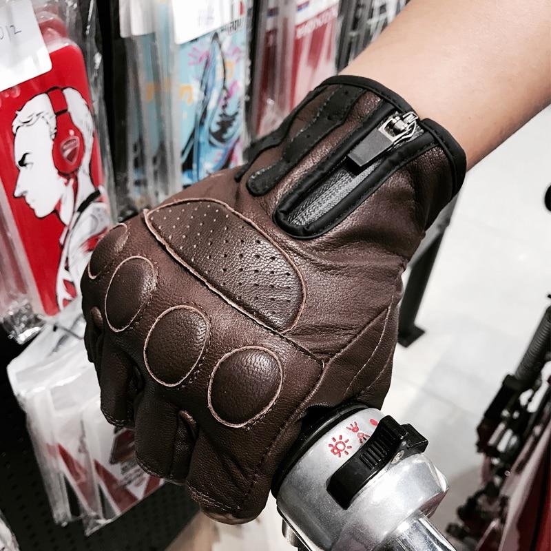 Gran oferta de guantes de cuero para motociclista SFK, guantes de cuero para motocicleta de hombre, guantes de medio dedo para Retro color marrón negro M L XL XXL