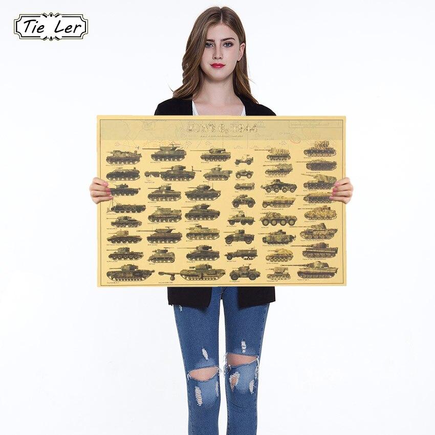 1PC World War II Tank Posters Retro Kraft Paper Wall Sticker Art Crafts Bar Cafe 51.5*36 CM