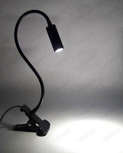 3W LED mesita de noche escritorio Lámpara de lectura abrazadera Clip en la oficina de estudio de luz negro