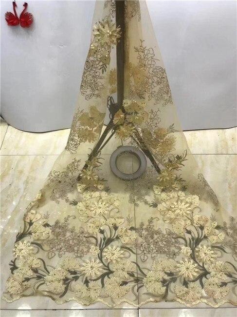 Alta Qualidade de Tule de Renda 2019 Mais Recente Tecido de Renda Africano 3d Bordados de Flores Francês Casamento Tecido de Renda Afican Para 5 metros x12