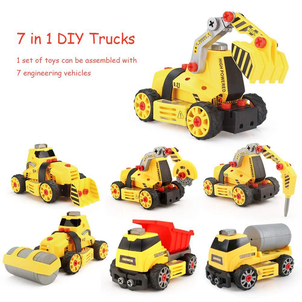 7 in 1 DIY Assembly Engineering Vehicle Model Building Blocks Compatible Legoings Column engineering car series Bricks Boys toys
