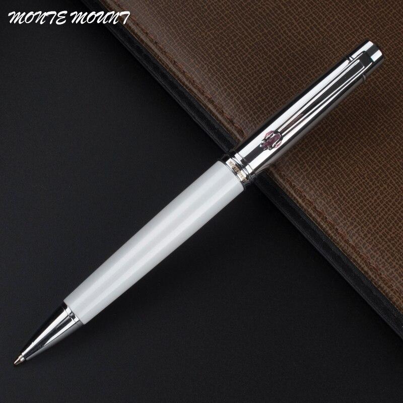 Monte monte monte branco caneta esferográfica gem caneta clipe de prata negócio executivo caneta escrita rápida