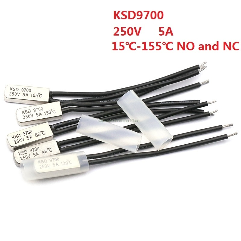 KSD9700 250V 5A 15 ~ 155 grados Bimetal disco interruptor de temperatura Normal cerrado termostato protector térmico