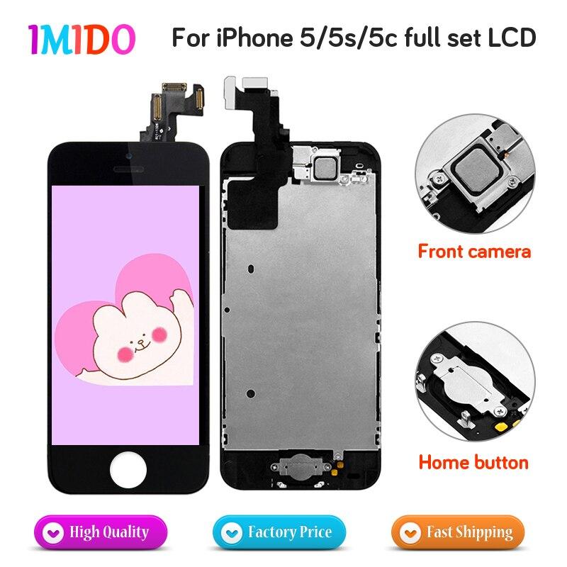 Полный экран для iPhone 5 5S 5C SE, ЖК-дисплей, сенсорный дигитайзер, сборка с камерой, динамик, домашняя кнопка, полный комплект, ЖК-дисплей AAA + + +