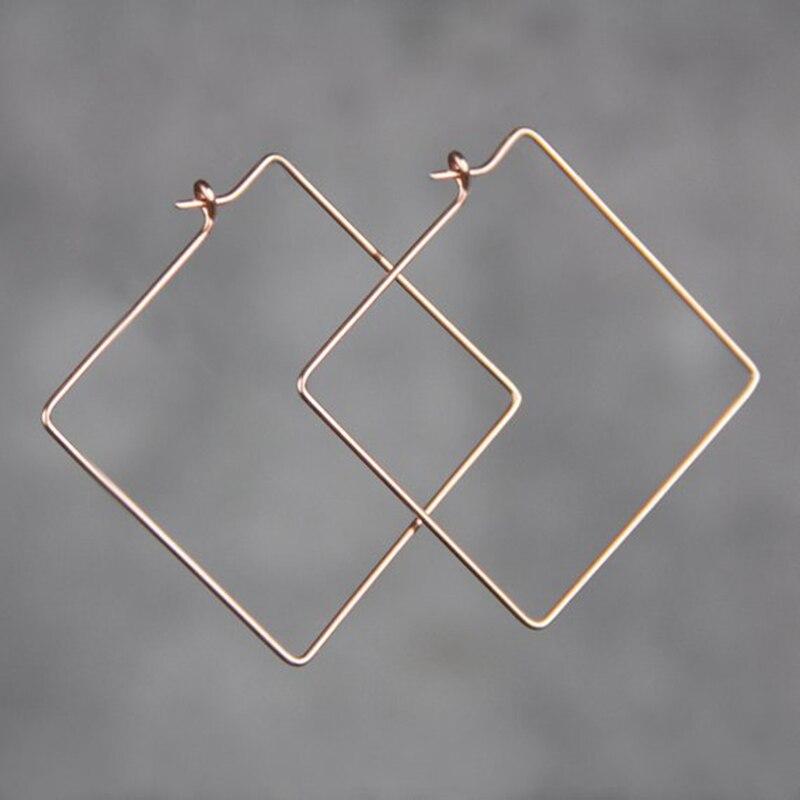 PINJEAS extra a mano cuadrado grande aro fino pendientes simple grande minimalista declaración ligero joyería oorbellen