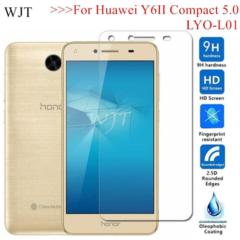 Tampa de Vidro Temperado Para Huawei Y6 LYO-L01 II Y6II Compact 5.0 LYO-L01 L21 Protetor de Tela Protetora honor 5 CUN-L21 CUN-AL00