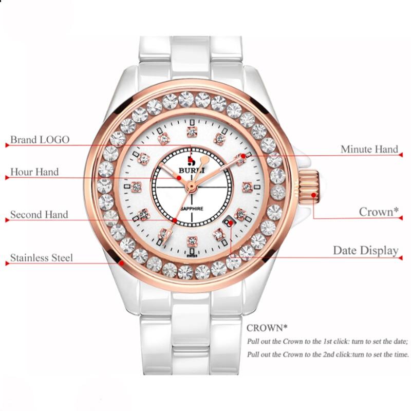 BUREI Brand Women Fashion Gold Watch Ladies Waterproof Luxury Sapphire Calendar Casual Quartz Wristwatch Clock Relogio Feminino enlarge