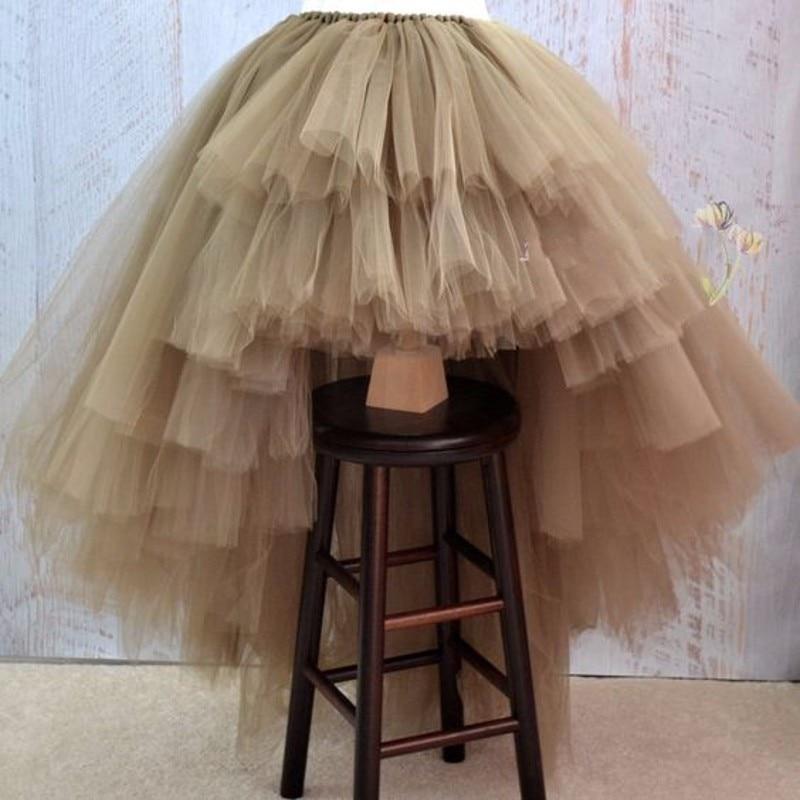 Venda quente Hi lo Tulle Saia 2019 Chic Chão Longo Prom vestido de Tule Em Camadas Tutu Saias Cintura Elástica Saia Personalizado feitos Todas As Cores
