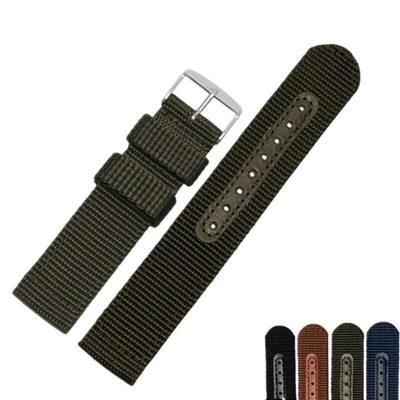 Correa de reloj para hombre y mujer de 18, 20, 22 y 24mm, negra, verde, azul y marrón, correa de tela hecha a mano, correa de plata pulida, hebilla de Pin para Rolex Omega