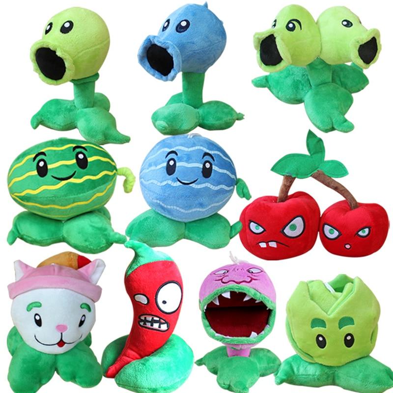10pcs/lot 13-20cm Plants vs Zombies Plush Stuffed Toys PVZ Plants Peashooter Chomper Cattail Plush Soft Toy Doll for Kids Gifts