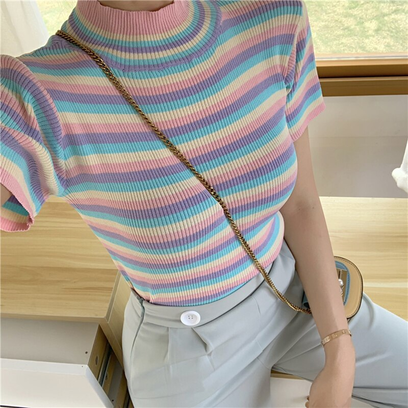 2020 Summer New ice cream color tee-shirt female rainbow striped slim knitting short women t-shirt Top