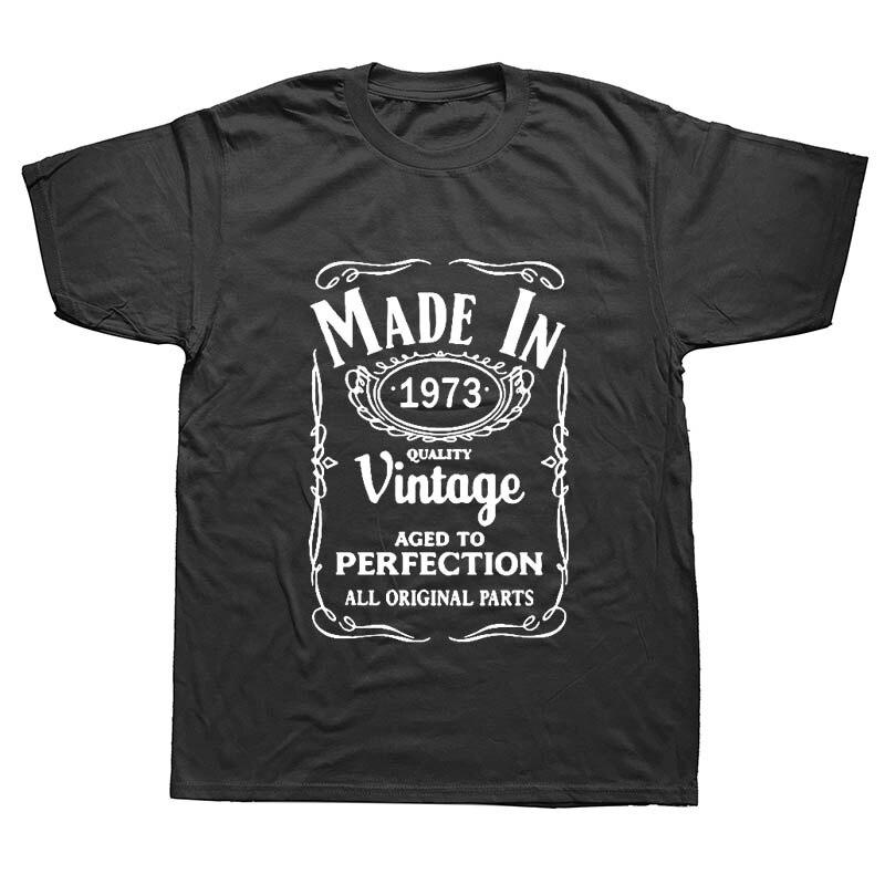 Hecho en 1973 Vintage Día del Padre papá camisetas divertidas hombres verano algodón Harajuku manga corta cuello redondo Streetwear negro camiseta