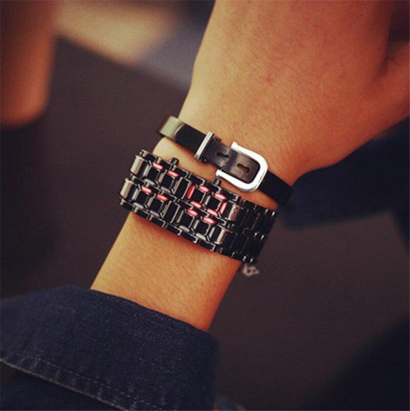 Nueva moda, plancha de lava Samurai para hombres y mujeres, pulsera LED de Metal sin rostro, reloj de pulsera, reloj de pulsera de acero completo, reloj digital de fuego, envío directo