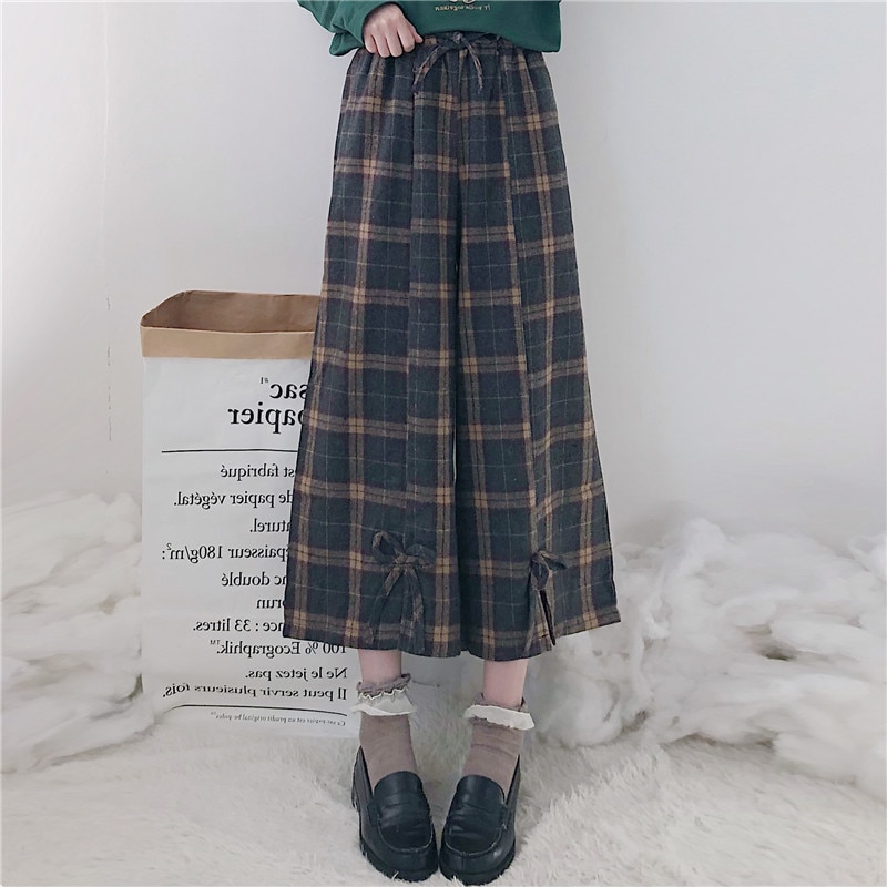 Harajuku Pantalones mujer cintura alta elástico Plaid Casual pantalones sueltos