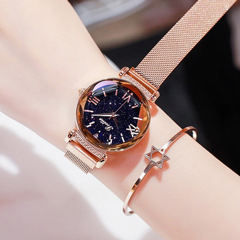 Fashion Mesh Belt Simple Magnet Buckle Women Watches Ladies Luxury Rhinestone Casual Dress Quartz Watch Women Clock Gift enlarge