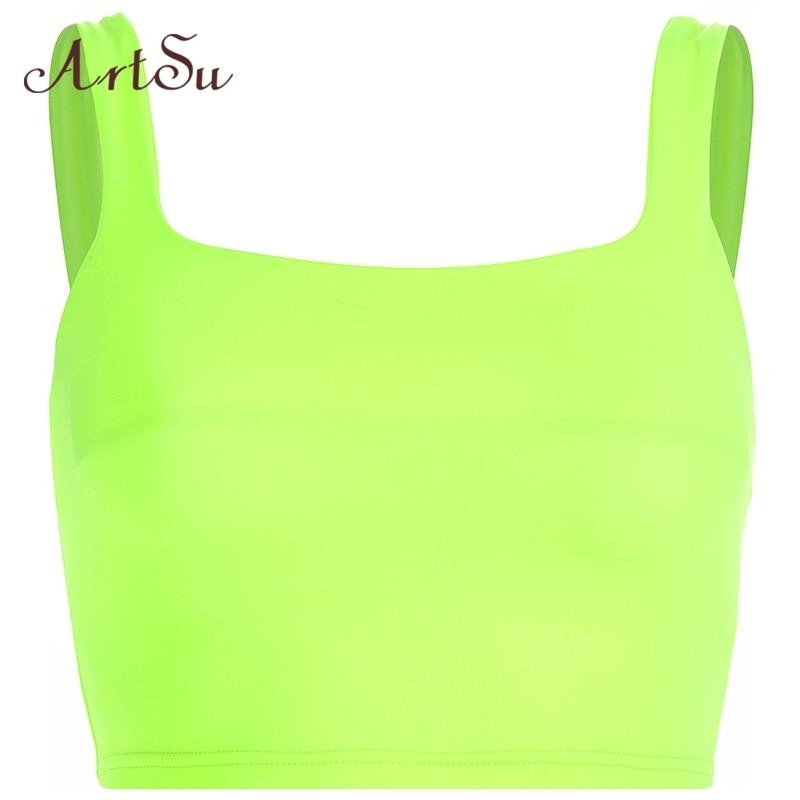 ArtSu Neon Green Top Fitness Workout Tank Tops Sleeveless Bralette Crop Top Women Streetwear Cami Top Camisole ASVE20726