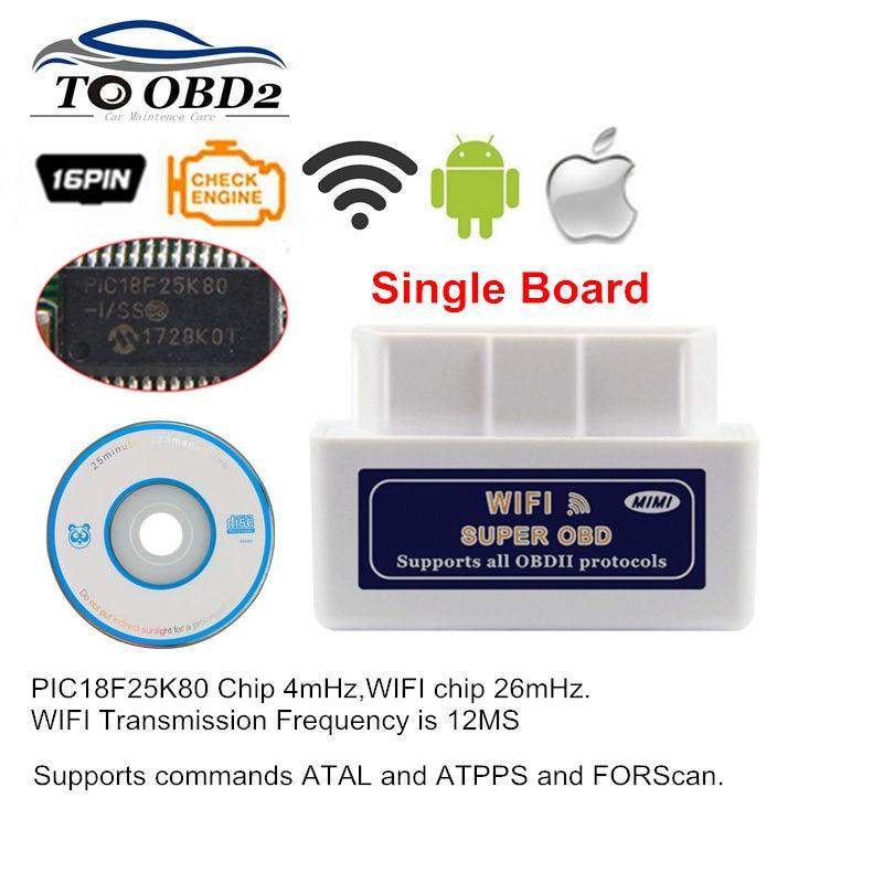 10pcs/Lot Best Quality ELM327 Super OBD2 WIFI Hardware V1.5 Works Multi-Cars PIC18F25K80 Wireless ELM 327 OBD2 CAN-BUS Tester