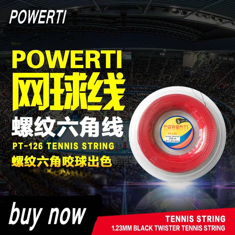 POWERTI Twister Twist 1,23mm Hexagon Polyester Tennis Schläger String 200 mt Reel Durable Gefühl Ausbildung String PT-126