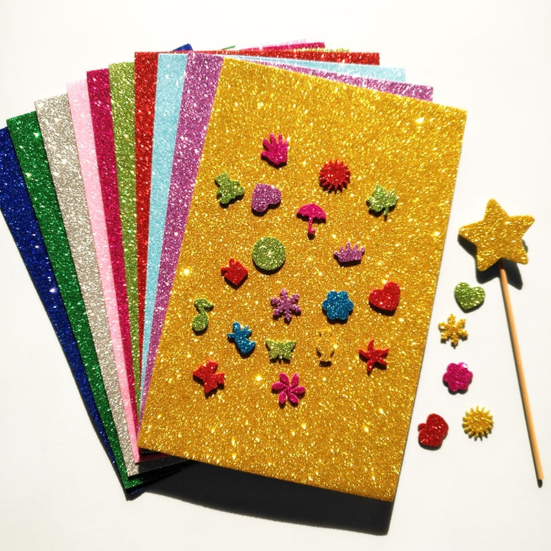 10 pcs Esponja Papel Glitter Flash de Ouro Folhas De Papel Da Espuma de Artesanato DIY Decoração de Natal