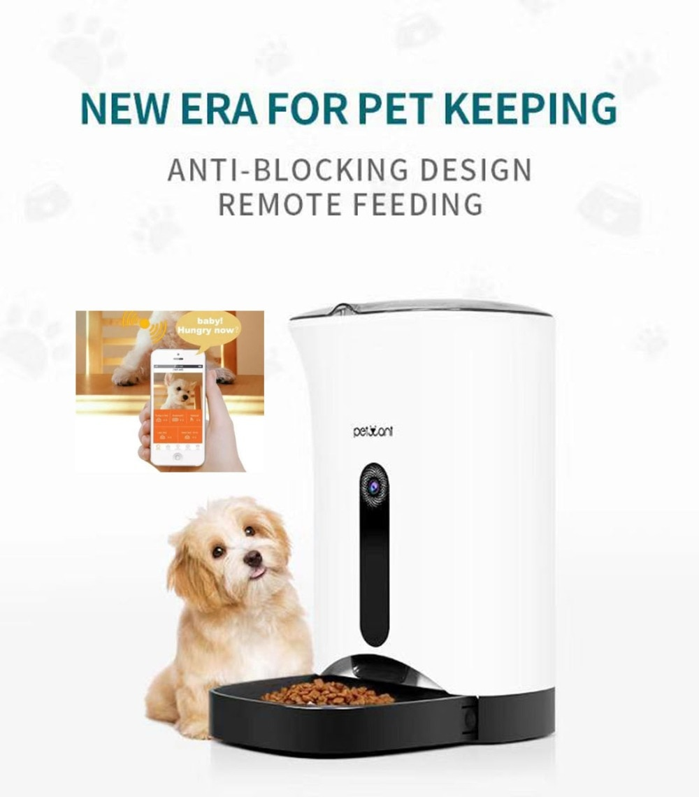 WIFI  4.3L meal with LCD display medium automatic  pet feeder for cats &small to medium size dogs remote control food dispenser