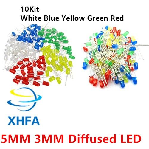 100 unids/lote 5 colores F3 F5 3mm 5MM rojo verde amarillo azul blanco difuso redondo DIP diodo emisor de luz LED para lámpara