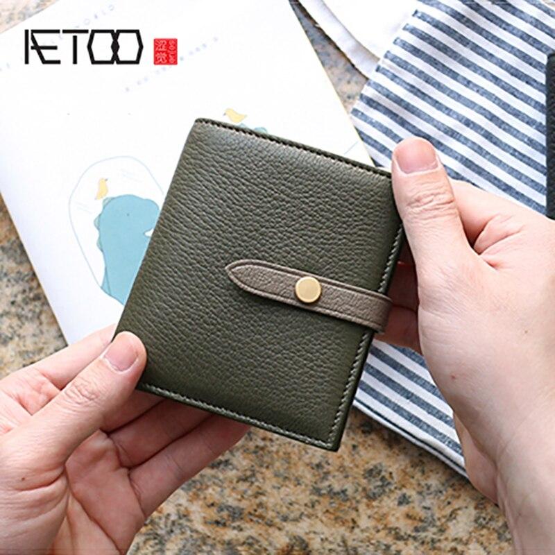 AETOO Goatskin-محفظة جلدية مع مشبك للنساء ، حقيبة بطاقات جلدية ملونة ، محفظة صغيرة بسيطة