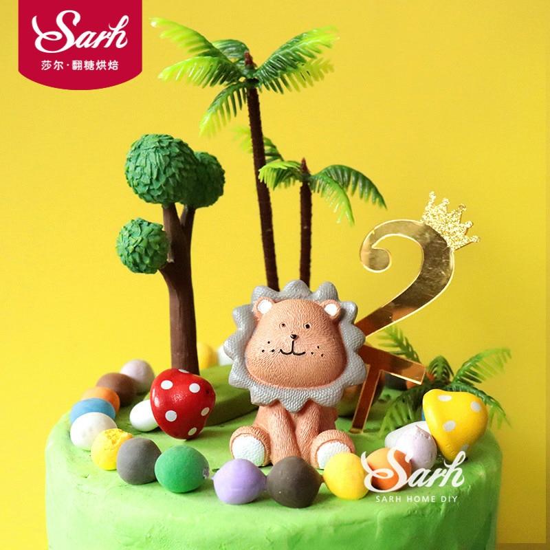Lion Coconut Bäume Kuchen Topper Junge Mädchen Geburtstag Dessert Dekoration für kinder Tag Partei Liefert Schöne Geschenke