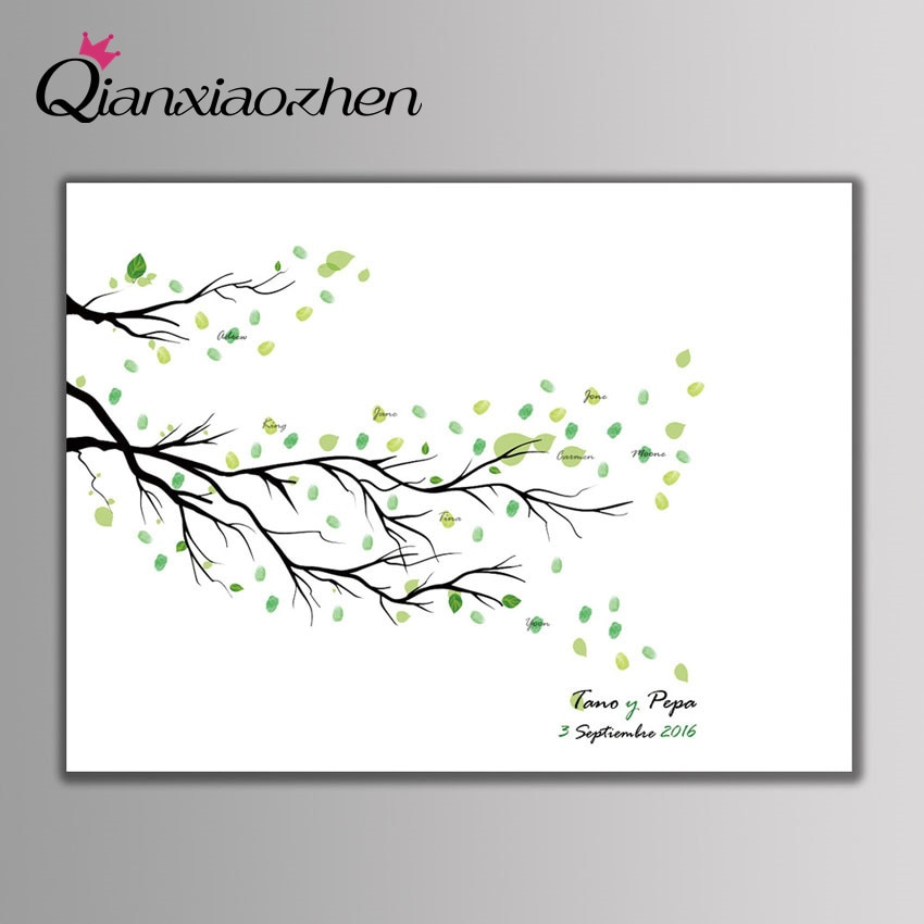 Qianxiaozhen-libro De invitados De Boda con huella dactilar, árbol personalizado, decoración De...