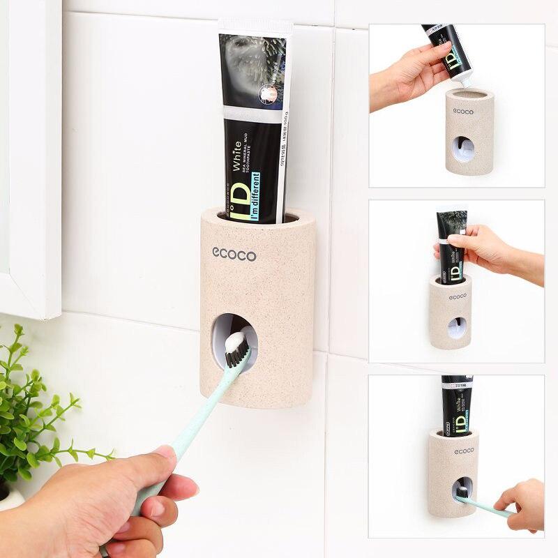 Dispensador automático caliente de pasta de dientes a prueba de polvo soporte de cepillo de dientes soporte de montaje en pared accesorios de baño pasta de dientes exprimidores de dientes
