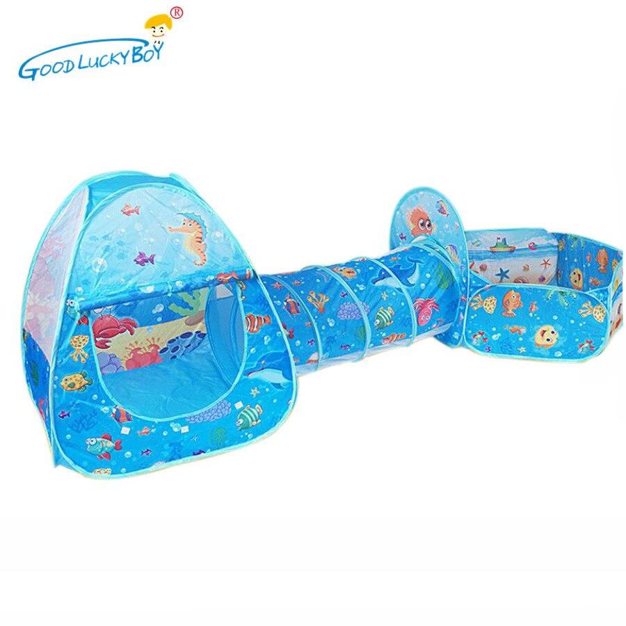 Игрушки туннельная палатка Серия океан мультяшная игра мяч ямы портативный складной бассейн для детей Спорт на открытом воздухе обучающая игрушка с корзиной