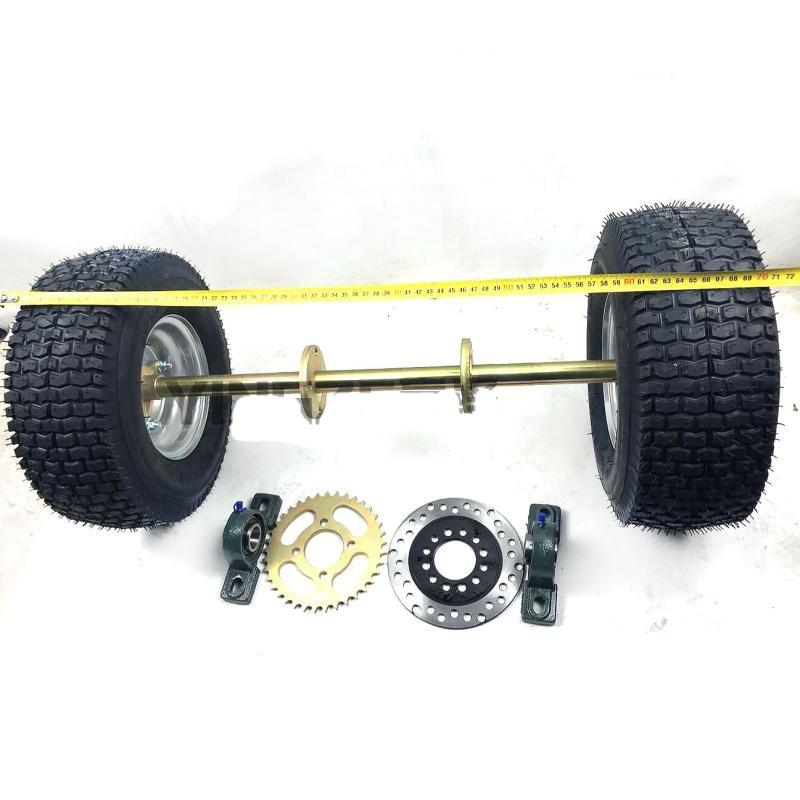 Diy Four Wheel Go Kart Karting Atv Utv Buggy Brake Disc 160 Rotors Sprocket 6205 65cm Rear Axle With 13x6 50 6 Inch Wheel Tires Aliexpress
