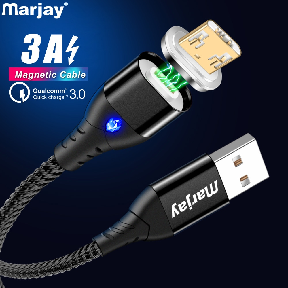 Câble USB magnétique Marjay 3A câble Micro USB de charge rapide pour Samsung S7 Xiaomi Redmi Note 5 Huawei HTC Microusb cordon Android