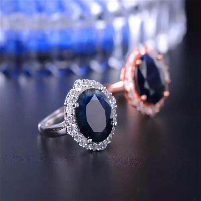 الفاخرة خاتم غرامة مجوهرات كحلي الياقوت خواتم 10*12 مللي متر للنساء 925 فضة الذكرى هدية الزفاف