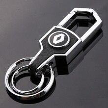 Keychain Silver Leather Car Key Ring Keyring Auto Pendant Key Holder Best Gift For Renault megane clio koleos Key Chain